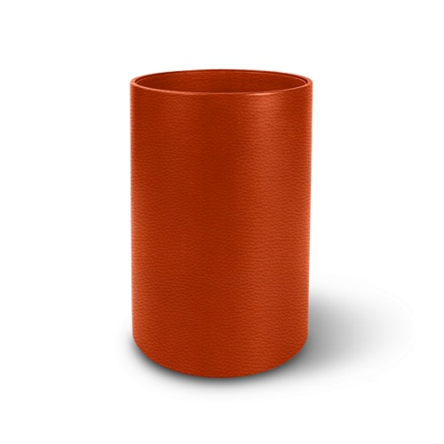 Small round waste basket - Orange - Granulated Leather