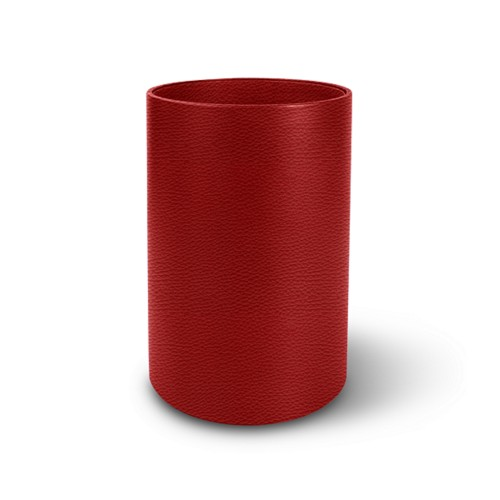 Round waste paper bin - Red - Granulated Leather