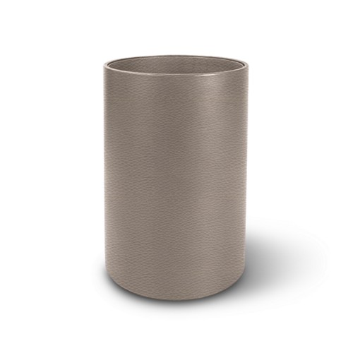 Small round waste basket - Light Taupe - Granulated Leather