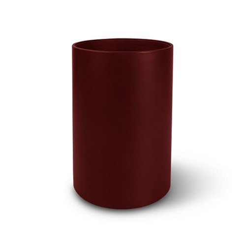 Small round waste basket - Burgundy - Smooth Leather