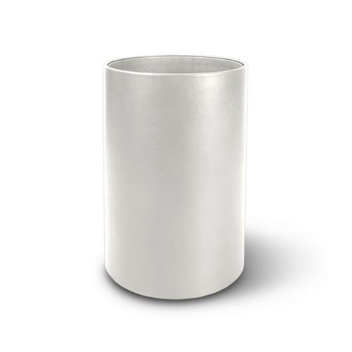 Round waste paper bin - White - Smooth Leather