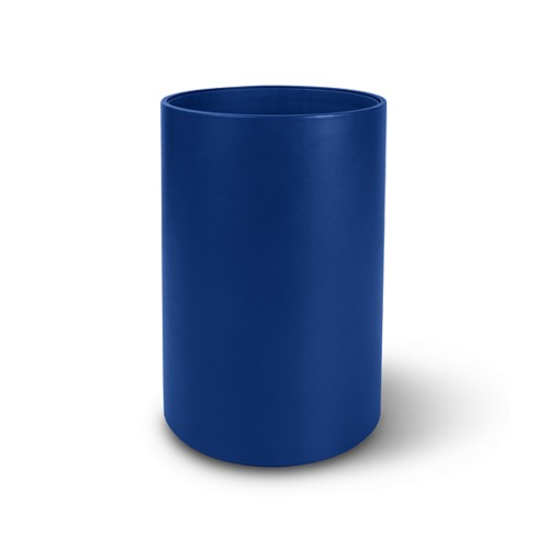 Small round waste basket - Royal Blue - Smooth Leather
