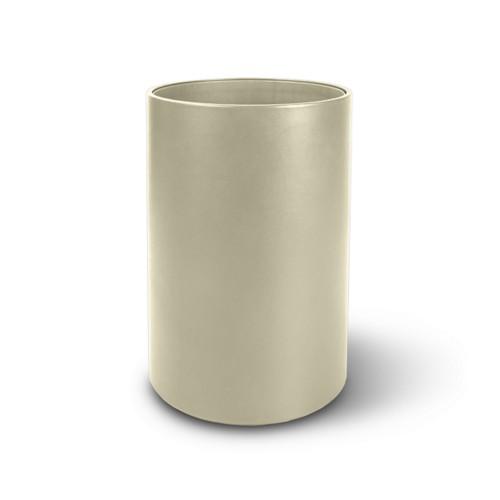 Papelera redonda pequeña - Blanco Crudo - Piel Liso