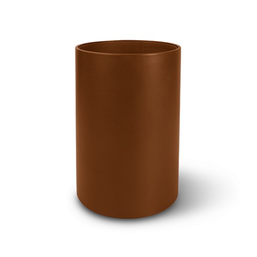 Small round waste basket - Tan - Smooth Leather