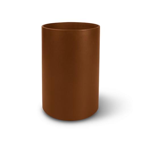 Papelera redonda pequeña - Coñac  - Piel Liso