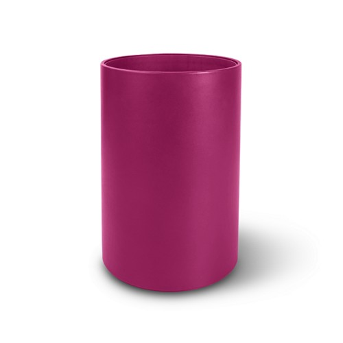 Small round waste basket - Fuchsia  - Smooth Leather