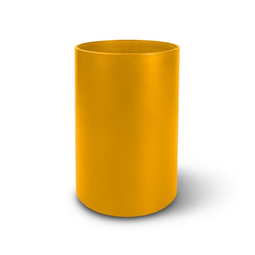 Small round waste basket - Sun Yellow - Smooth Leather