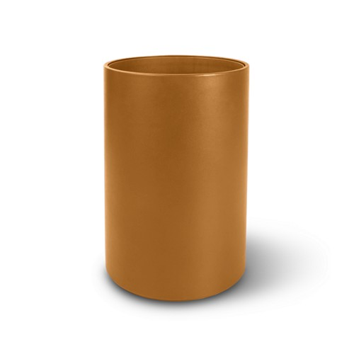 Small round waste basket - Natural - Smooth Leather