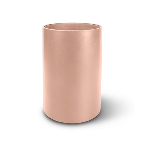 Small round waste basket - Nude - Smooth Leather