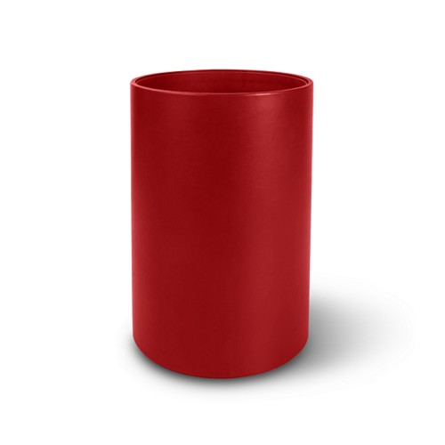 Round waste paper bin - Red - Smooth Leather