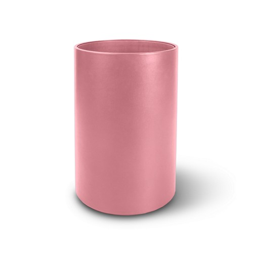 Round waste paper bin - Pink - Smooth Leather