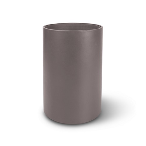 Small round waste basket - Light Taupe - Smooth Leather