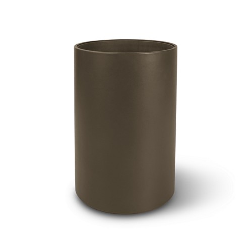 Small round waste basket - Dark Taupe - Smooth Leather