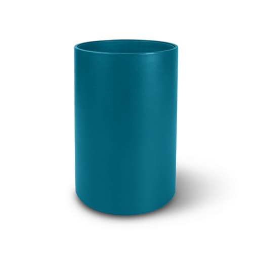 Small round waste basket - Turquoise - Smooth Leather