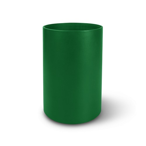 Small round waste basket - Light Green - Smooth Leather
