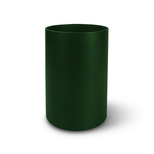 Small round waste basket - Dark Green - Smooth Leather