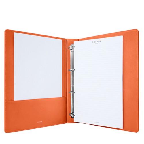 A4-Büroordner - Orange - Glattleder