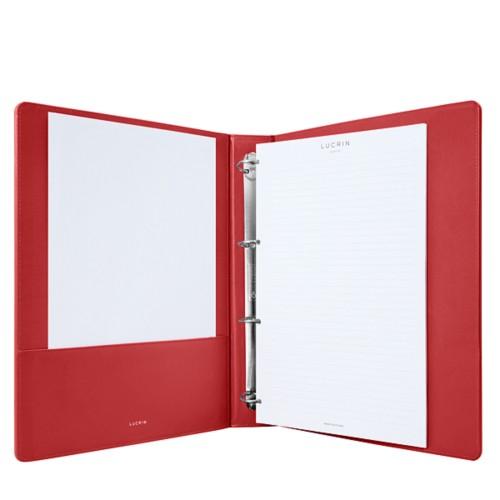 A4-Büroordner - Rot - Glattleder