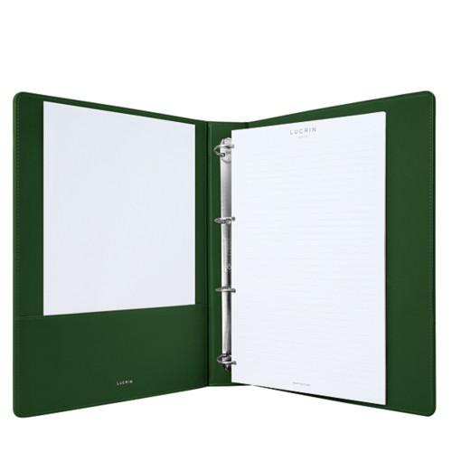 A4-Büroordner - Dunkelgrün - Glattleder