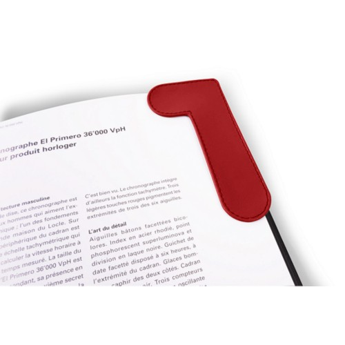 Corner Bookmark - Red - Smooth Leather