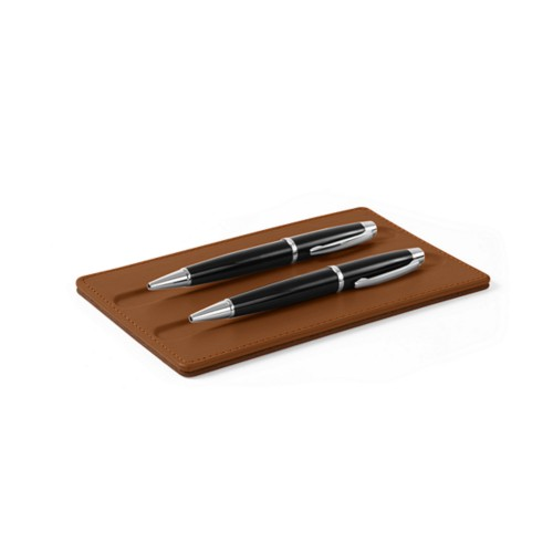 Pen Tray - 2 pens (18 x 10.5 cm) - Tan - Smooth Leather