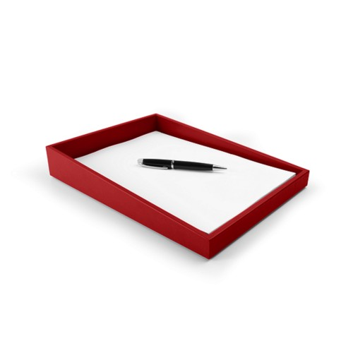 A4 Office Paper Tray - Red - Smooth Leather