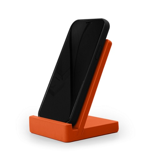Smartphone stand - Orange - Smooth Leather