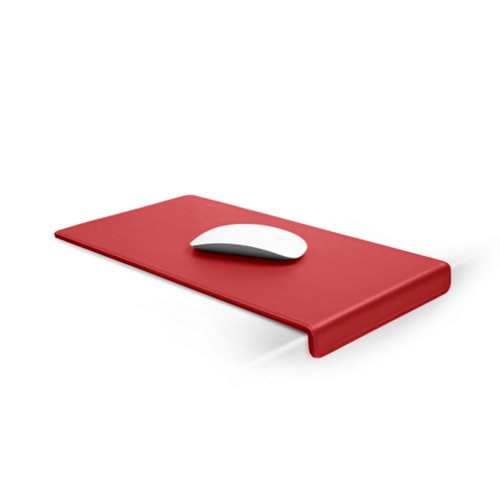Mouse Pad with Edge Protector - Red - Smooth Leather