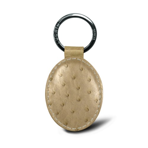 Oval-shaped Key Ring - Beige - Real Ostrich Leather