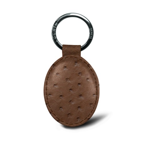 Oval key ring - Tobacco - Real Ostrich Leather