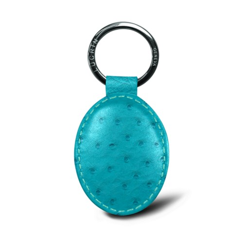 Oval-shaped Key Ring - Turquoise - Real Ostrich Leather