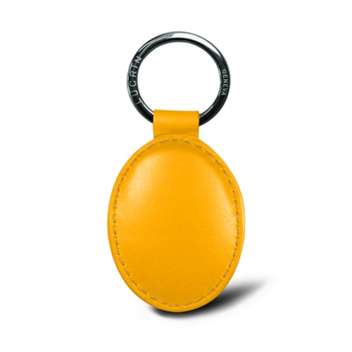Oval key ring - Sun Yellow - Smooth Leather