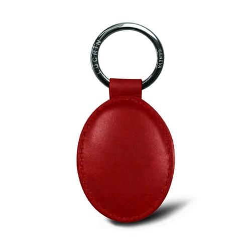 Porte-clés ovale - Carmin - Cuir végétal