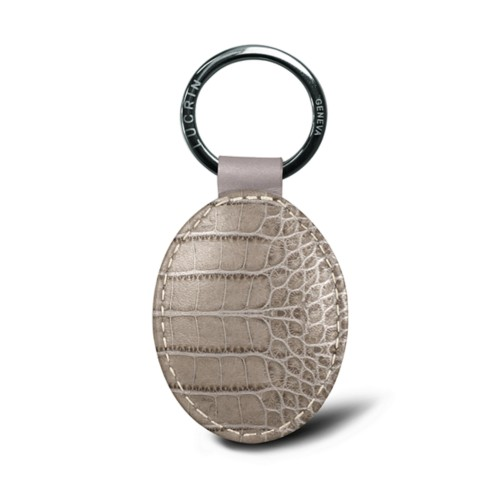 Oval key ring - Light Taupe - Crocodile style calfskin