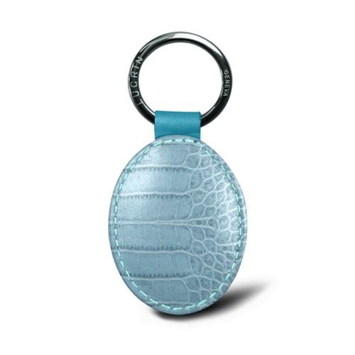 Oval key ring - Turquoise - Crocodile style calfskin