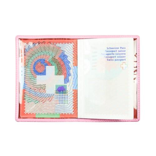 Protège passeport universel - Rose - Cuir de Chèvre