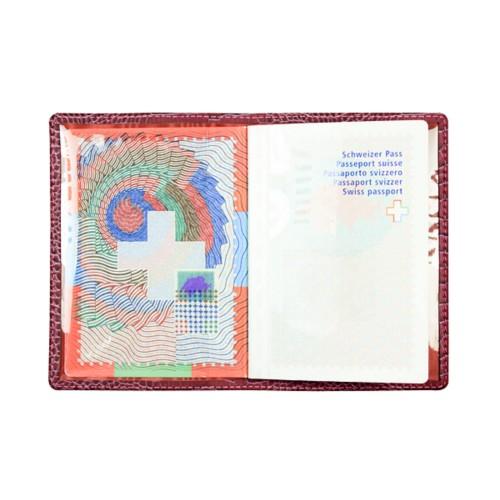 Universal Passport Holder - Fuchsia  - Crocodile style calfskin