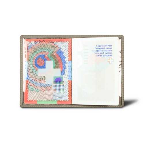 Universal Passport Holder - Dark Taupe - Smooth Leather