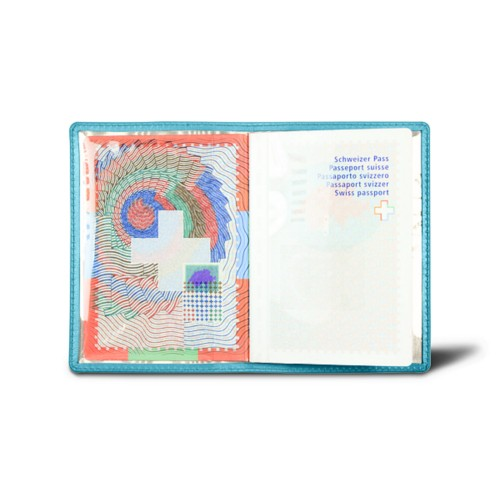 Universal passport holder - Turquoise - Smooth Leather