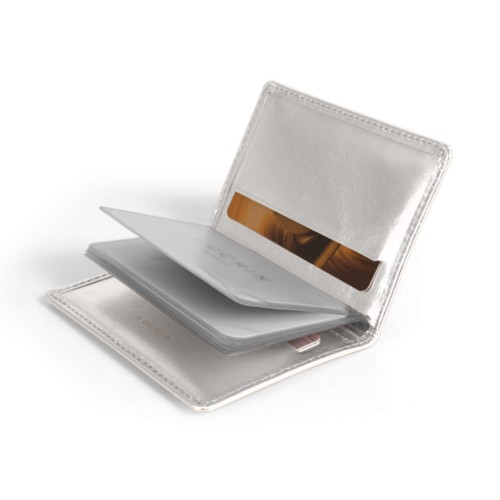 Slim credit cards holder - Silver - Metallic Leather