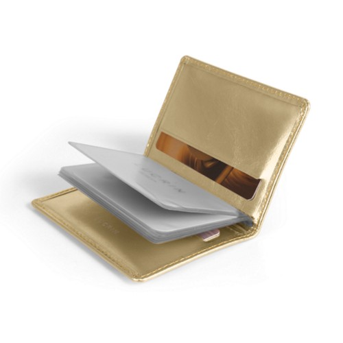 Etui Compact Carte Bleue - Doré - Cuir Métallisé