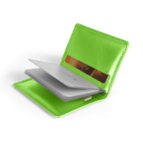 Slim credit cards holder - Light Green - Metallic Leather