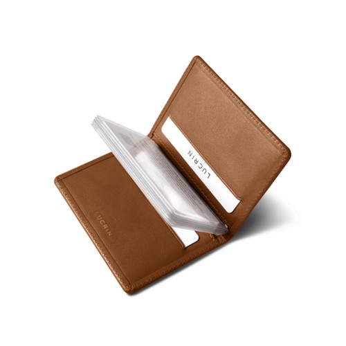 Slim credit cards holder - Tan - Smooth Leather