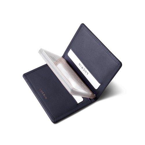Slim credit cards holder - Purple - Smooth Leather