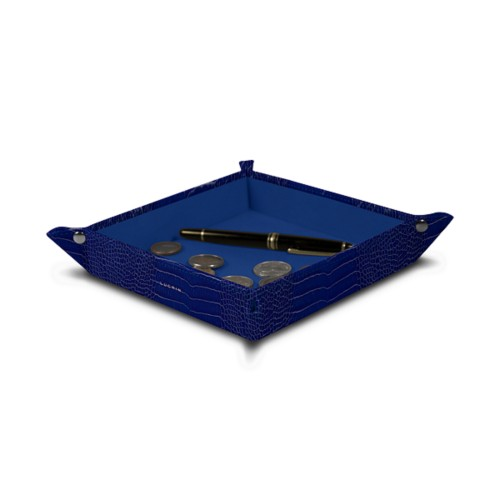 Square tidy tray (7.09 x 7.09 x 1.38 inches) - Royal Blue - Crocodile style calfskin
