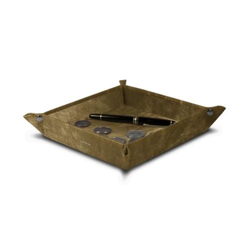Vierkant opruimbakje (16 x 16 x 3.5 cm) - Goud - Metallic Leer