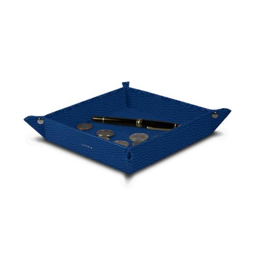 Vide poche moyen carré (21 x 21 x 3,5 cm) - Bleu Roi - Cuir Grainé