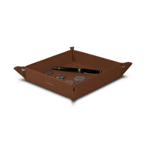 Vide poche moyen carré (21 x 21 x 3,5 cm) - Cognac - Cuir Grainé