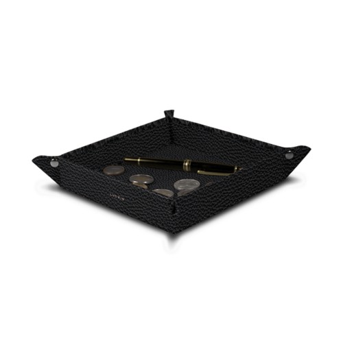 Square tidy tray (7.09 x 7.09 x 1.38 inches) - Black - Granulated Leather