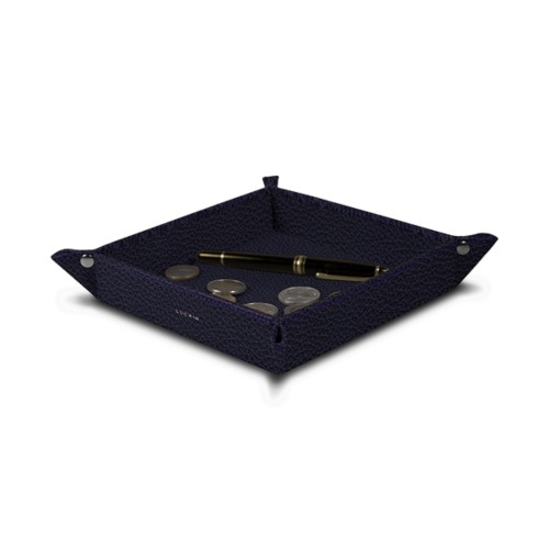 Square tidy tray (7.09 x 7.09 x 1.38 inches) - Purple - Granulated Leather